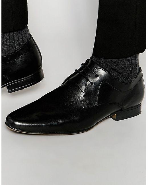 Frank Wright | Мужские Чёрные Черные Кожаные Туфли Дерби Черный