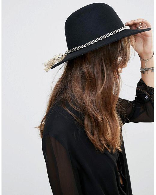 Brixton | Женская Чёрная Черная Фетровая Шляпа С Широкими Полями Черный