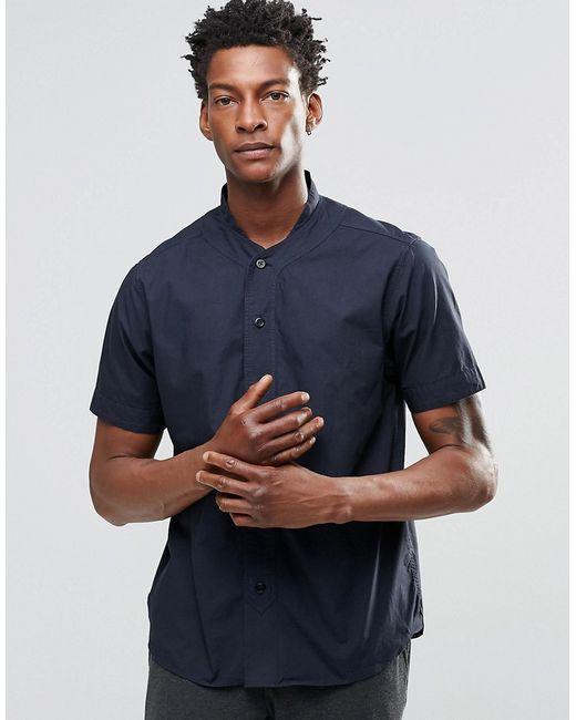YMC   Мужская Синяя Рубашка С Короткими Рукавами И Бейсбольным Воротником