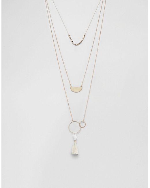Ashiana | Золотое Ожерелье В Несколько Рядов С Кисточкой Золотой