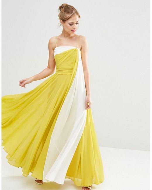 Asos   Женское Многоцветное Платье Макси В Стиле Колор Блок На