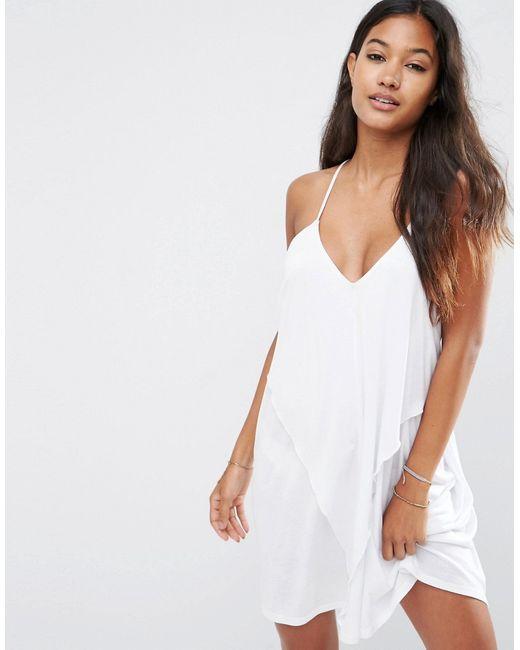 Asos | Женское Белое Трикотажное Пляжное Платье С Драпировкой Белый