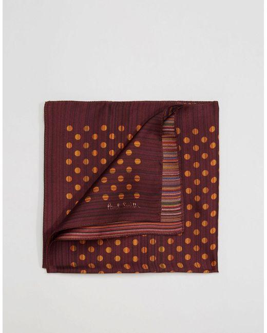 Paul Smith   Мужской Красный Шелковый Платок Для Пиджака В Горошек И