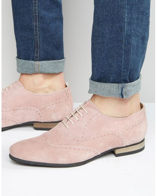 Asos | Розовые Розовые Замшевые Броги С Контрастной Подошвой Розовый