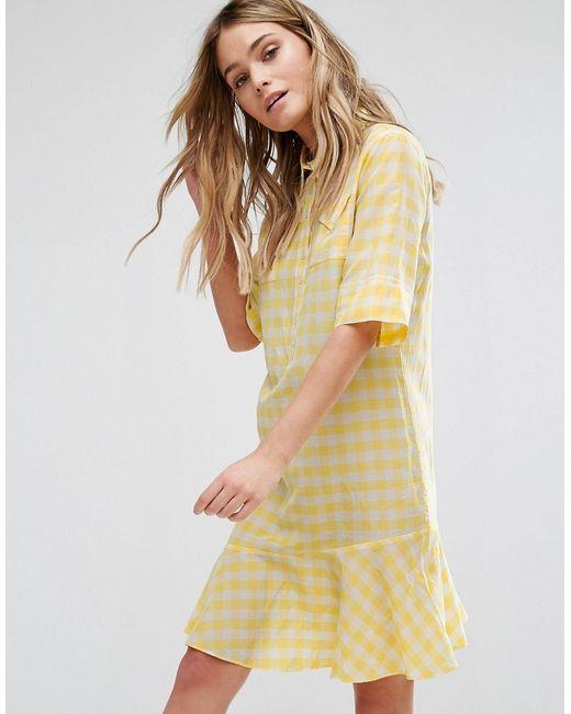 PS PAUL SMITH | Женское Жёлтое Желтое Платье В Клетку