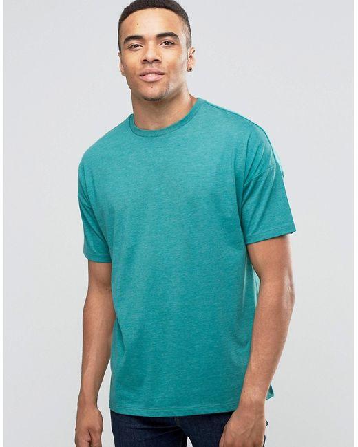 Asos   Мужская Зелёная Свободная Меланжевая Футболка Сине-Зеленый Меланжевый