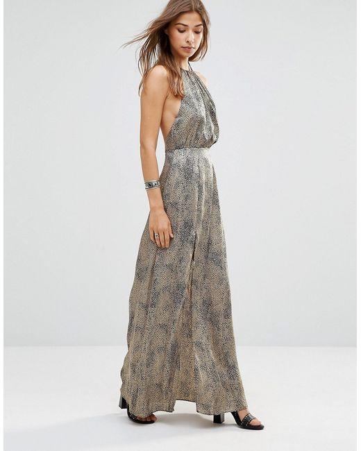 WYLDR | Женское Многоцветное Леопардовое Платье Макси С Открытой Спинкой Projection