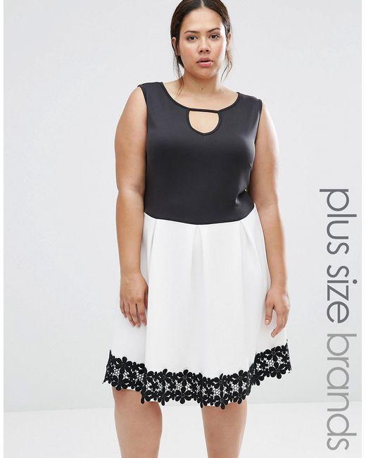 Praslin   Женское Короткое Приталенное Платье С Отделкой Кроше Plus