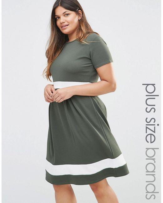 Praslin | Женское Хаки Короткое Приталенное Платье С Контрастными Вставками Plus