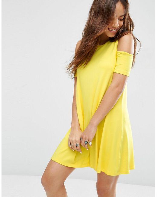 Asos   Женское Жёлтое Свободное Платье Желтый