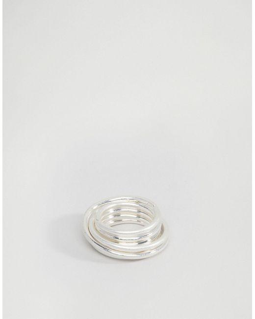 Asos | Серебряное Серебристое Кольцо-Спираль На Мизинец Серебряный