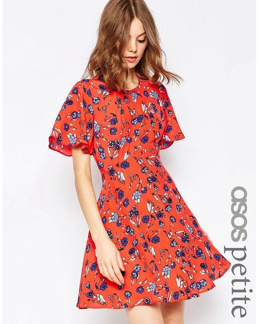 ASOS PETITE | Женское Красное Чайное Платье С Цветочным Принтом Красный