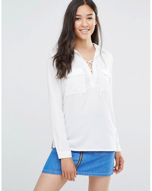 Soaked In Luxury | Женская Белая Рубашка Со Шнуровкой И Карманами Rosy Кремово-Белый