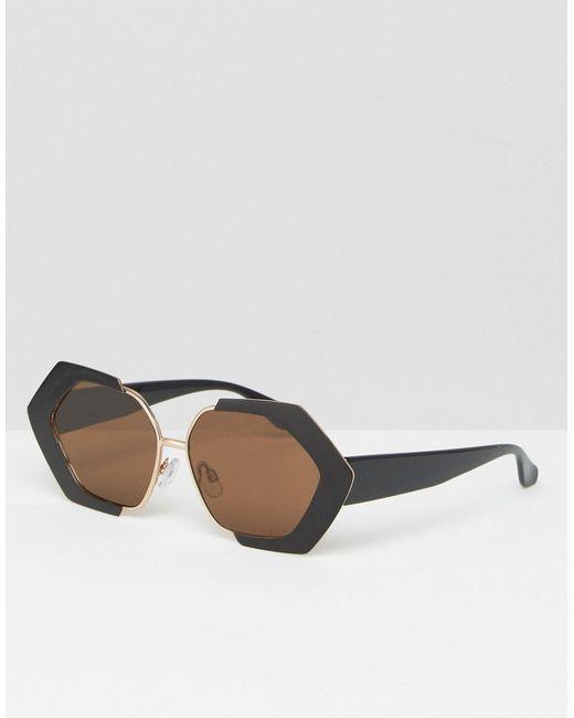Asos | Чёрные Большие Солнцезащитные Очки В Стиле 70Х Черный