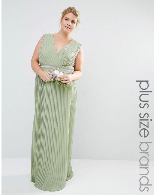 TFNC Plus | Женское Зелёное Платье Макси С Запахом Отделкой И Плиссировкой