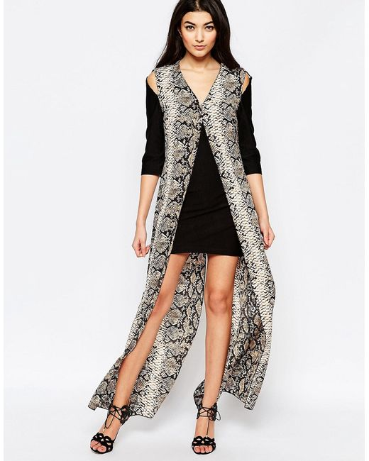Liquorish | Женское Чёрное Цельнокройное Платье С Длинной Накладкой Со Змеиным