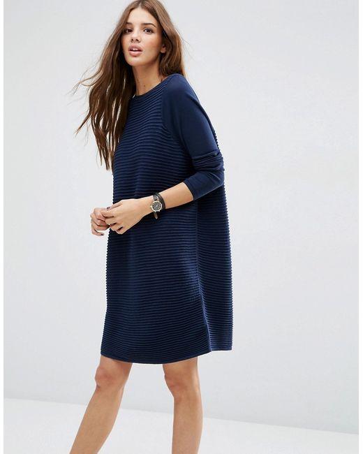 Asos   Женское Синее Свободное Фактурное Платье Темно-Синий