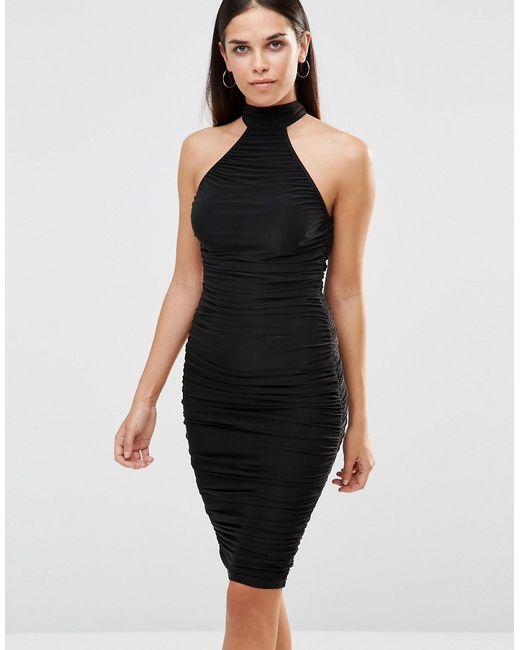 AX Paris | Женское Чёрное Облегающее Платье Миди Черный