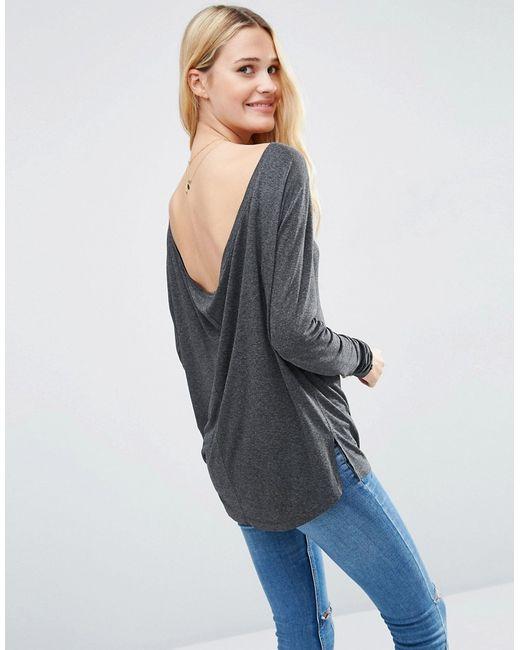 Asos | Женский Серый Топ С Глубоким V-Образным Вырезом Сзади И