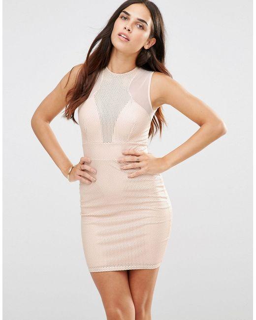 TFNC | Женское Розовое Платье С Вырезным Узором И Сетчатыми Вставками