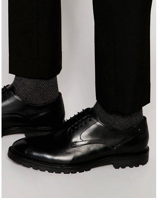 Base London | Мужские Чёрные Кожаные Туфли Дерби Barrage Черный
