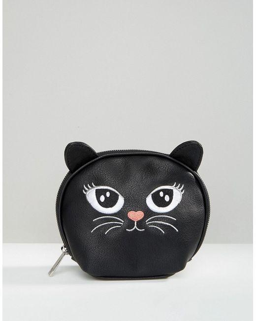 Asos | Женская Чёрная Косметичка С Изображением Кошки Черный