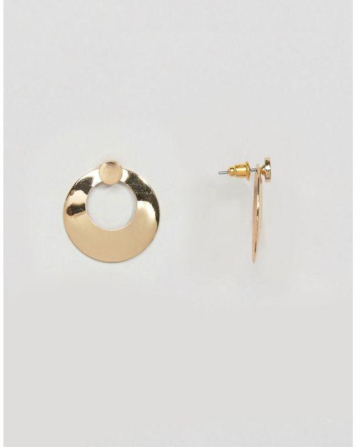 Asos | Золотые Серьги-Гвоздики С Двойным Диском Золотой