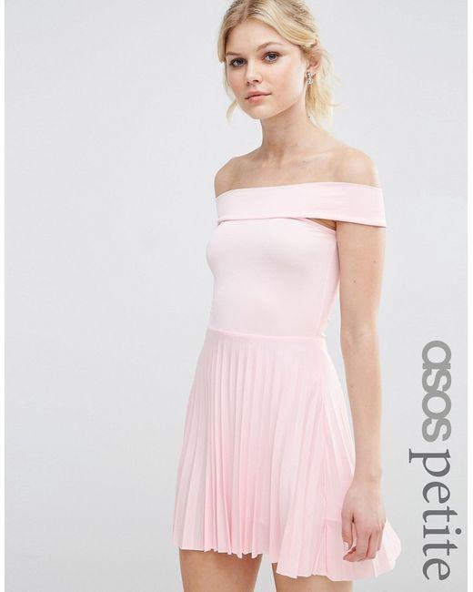 ASOS PETITE | Женское Телесное Плиссированное Платье Миди С Открытыми Плечами Телесный