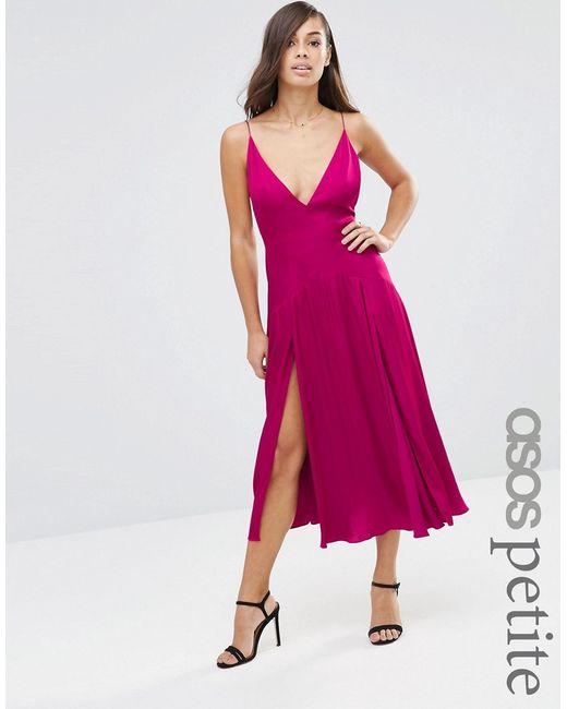ASOS PETITE | Женское Fuschia Свободное Платье Миди На Бретельках Со Вставками