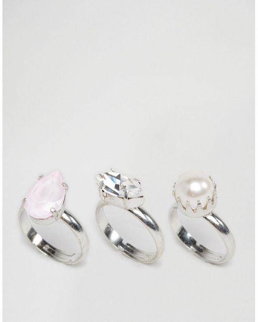 Krystall | Женское 3 Кольца С Кристаллами Swarovski