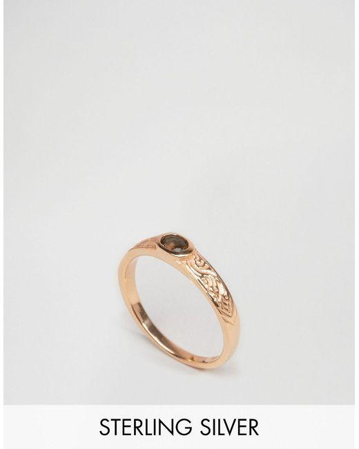 Asos | Женское Розовое Золотое Кольцо Из Позолоченного Серебра С Гравировкой И