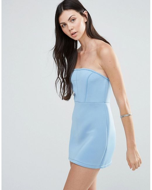 Pixie & Diamond | Голубое Платье-Бандо Светло-Голубой