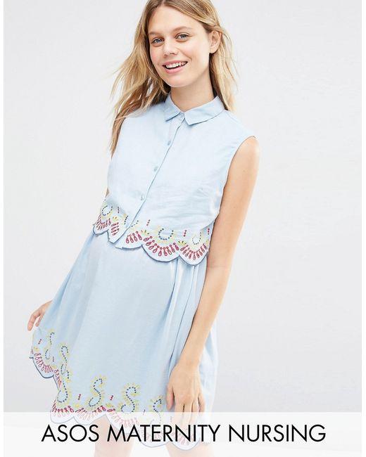 ASOS Maternity | Синее Платье Для Беременных И Кормящих Из Шамбре
