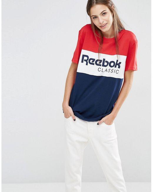 Reebok | Красная Красно-Синяя Oversize-Футболка С Логотипом Красный