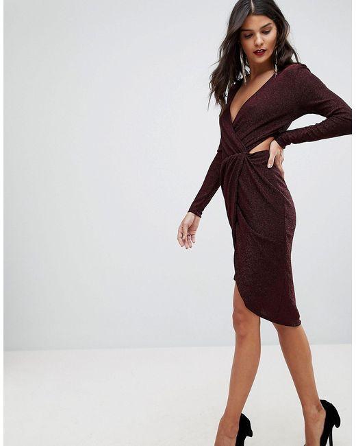 9598bf8cfd0 Женское Красное Платье Мини С Вырезами И Запахом Morgan 6773501