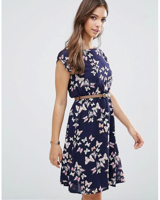 Yumi   Женское Синее Платье С Принтом Бабочек Темно-Синий
