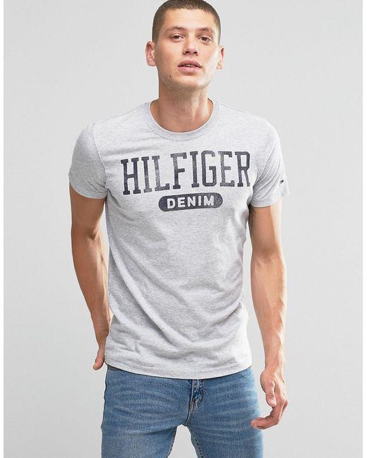 Tommy Hilfiger | Мужская Серая Футболка C Логотипом Denim