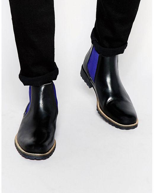 Dune   Мужские Чёрные Кожаные Ботинки Челси Chiggy Черный