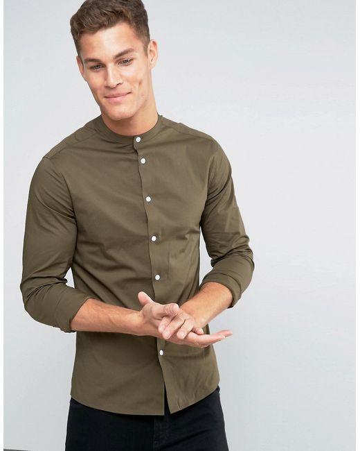 Asos | Мужская Хаки Облегающая Рубашка Цвета Хаки С Воротником На