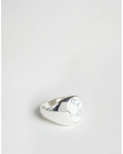 Chained & Able   Мужское Белое Кольцо С Овальным Камнем Серебряный