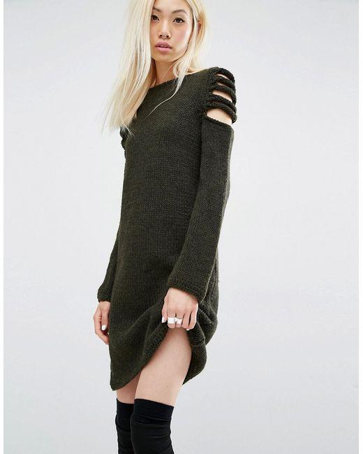 Oneon | Платье-Джемпер Ручной Работы С Открытыми Плечами Хаки