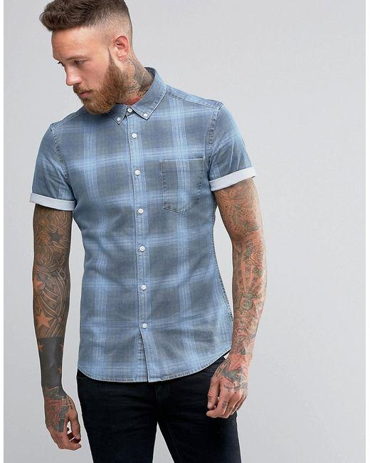 Asos | Мужская Джинсовая Рубашка Суперузкого Кроя В Клетку С