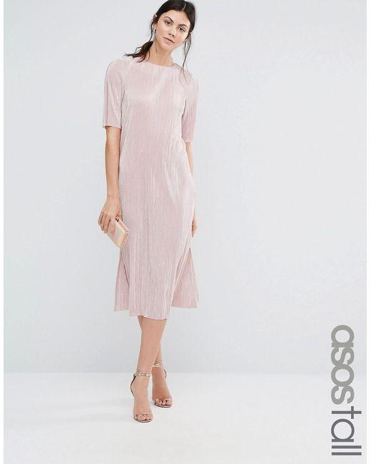 ASOS TALL   Plisse T-Shirt Dress Blush