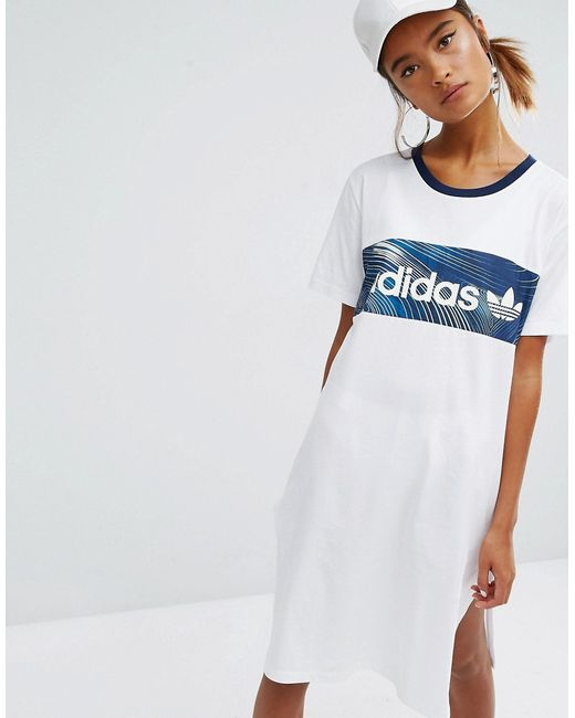 Adidas | Originals Geology Print Block T-Shirt Dress Белый