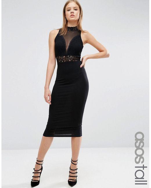 ASOS TALL | Женское Облегающее Платье С Высоким Воротом И Кружевной