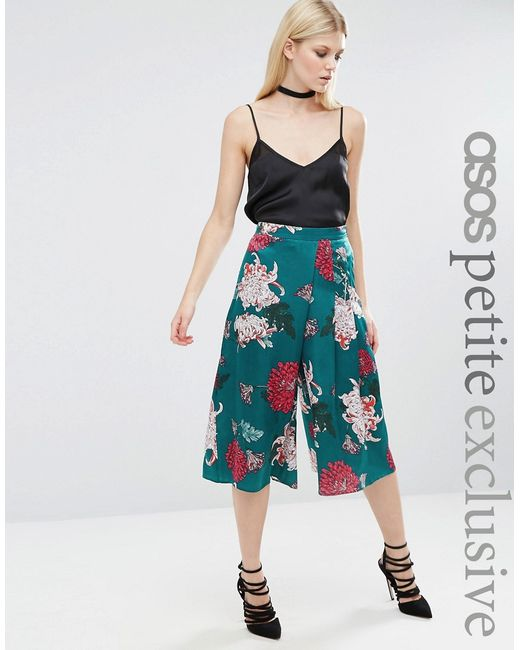ASOS PETITE | Satin Cropped Trouser In Japanese Floral Print