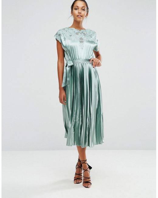 Asos | Lace Top Satin Pleated Midi Dress Мятный