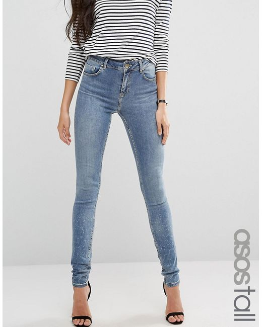 ASOS TALL | Lisbon Mid Rise Jeans In Zoe Wash