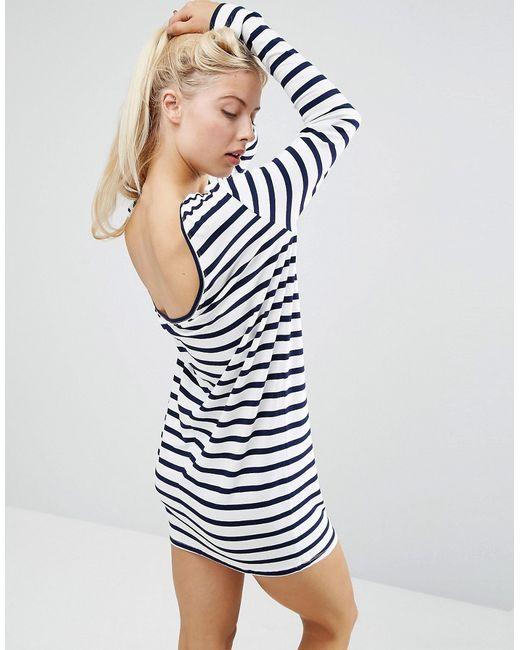 Asos | Cowl Back Mini Dress In Stripe Мульти