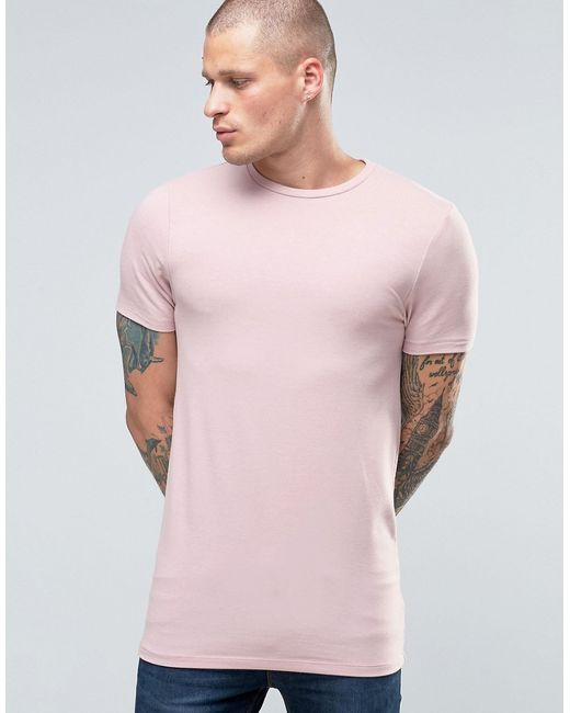 Asos | Мужская Розовая Меланжевая Удлиненная Футболка С Круглым Вырезом